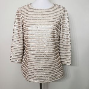 Boden Gold & Ivory Sequin Perfect Party Top